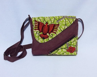 Original, fabric shoulder bag batik green and plain brown
