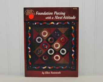 Vintage Foundation Piecing With A New Attitude (c. 1996) Ellen Rosintoski, Quilt Piecing, Machine Piecing, How To Quilt, Quilted Wallhanging