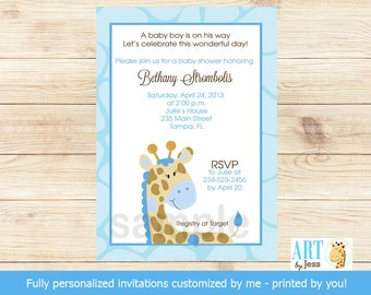 Blue Giraffe Baby Shower Invitations | Boy Giraffe Shower | Printable File BS-025