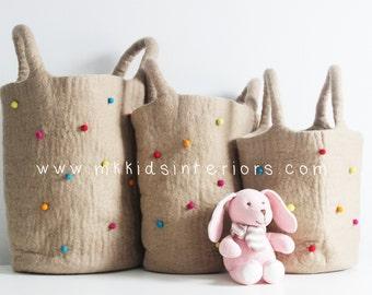 Set of 3 Felt Storage Bags,Felt storage baskets, kids toy box, toy bag, Eco-friendly Gift, New baby gift, Felt balls, Wool Bags, Multicolour