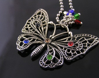 Butterfly Necklace, Butterfly Charm Necklace, Silver Filigree Butterfly Pendant with Crystals, Filigree Necklace, Crystal Jewelry, N1156