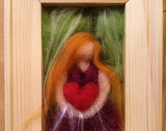 Wild Heart Fairy - needle felting framed wall art.  A unique Easter gift -  one of a kind, waldorf inspired, felted painting.