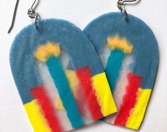 Mildred Large Dangles, Statement Earrings, Light, Fun, Colourful