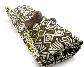 Makeup brush organizer or crochet roll tribal fabric unique design with button closure