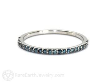 Blue Diamond Band Diamond Wedding Ring Anniversary Band Stacking Ring Wedding Band Blue Gemstone Ring 14K or 18K Gold