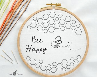 Bee happy, Honey bee Digital hand embroidery pattern , PDF instant Download