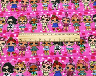 lol dolls pink dots print