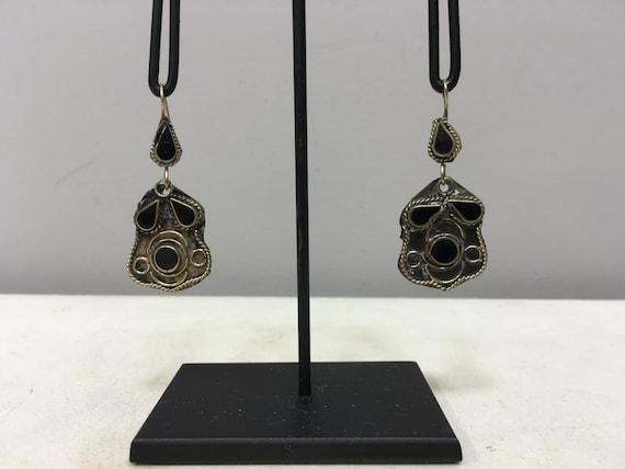 Earrings Silver Middle Eastern Black Glass Oxidzed Dangle Silver Earrings Handmade Silver Earrings Black Oxidized Dangle Unique E186