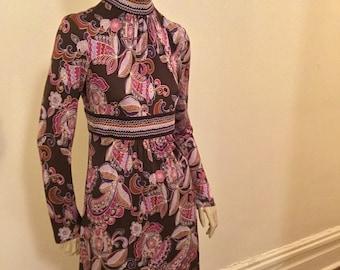 Vintage Trina Turk print jersey mini dress