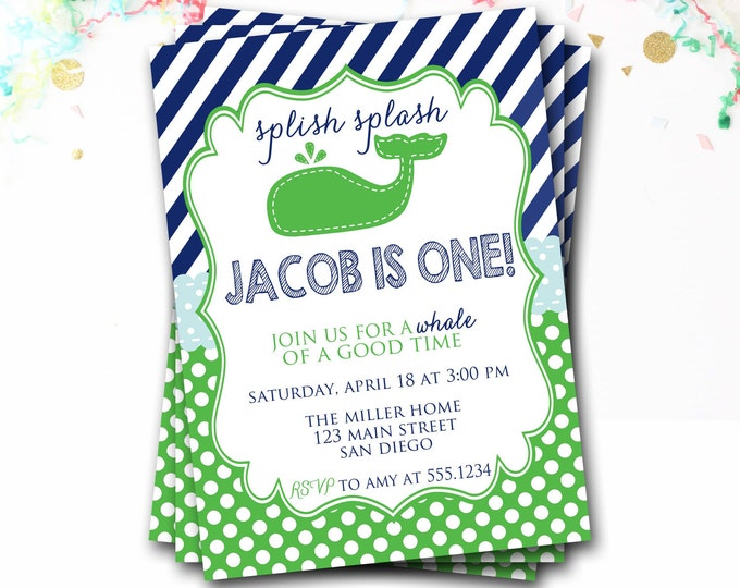 Whale Birthday Invitation, Navy And Green, Preppy Invitation, Nautical Invitation, Whale Invite, Boy Birthday, DIY Printable