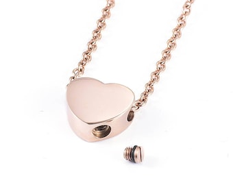 Cremation Urn Heart Charm Necklace ~ Rose Gold ~ Pet Loss ~  Remembrance Memorial Jewelry ~ Bereavement Gift ~ Minimalist Cremation Necklace