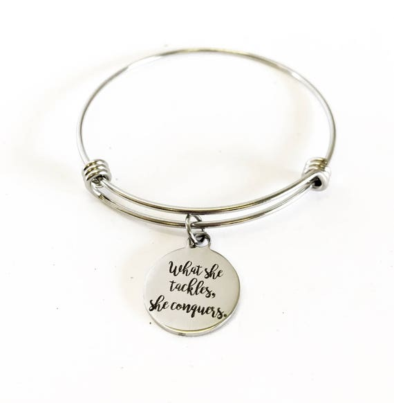What She Tackles She Conquers Stacking Expanding Bangle Charm Bracelet, Motivational Gift For Her, Encouragement Jewelry Gift For Daughter