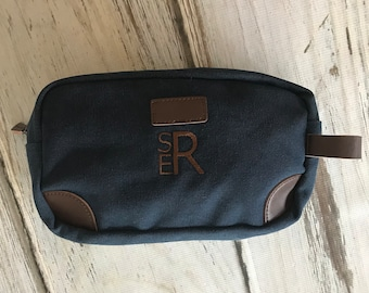 Groomsmen Toiletry Bag-Monogram included-Groomsmen Bags-Personalized Groomsmen Gifts- Canvas and Leather Dopp Kit-Olive, Navy or Tan