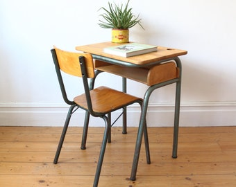 Vintage French school desk - office desk - - study desk - wooden desk - vintage desks - school desks
