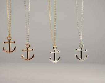 Silver anchor necklace. Sterling silver anchor long necklace. Gold anchor long necklace, Navy necklace