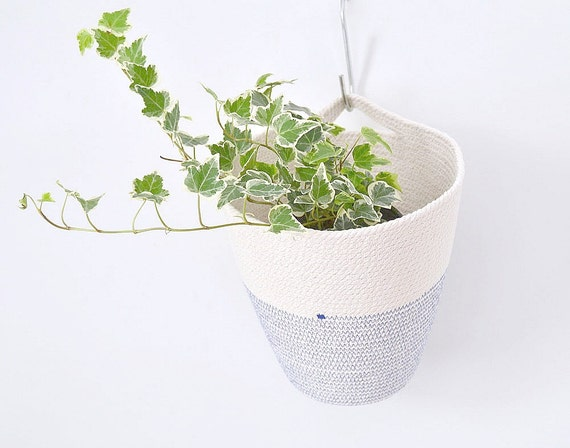Hanging cotton pot, Natural home decor, Hanging planter, Planter basket, Handle basket, Hanging basket, Kids room storage, Plant hanger Rope