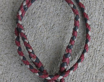 "Tag collar 16"" in Cerise, grey and dove grey"