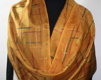 Silk Scarf Handpainted. Golden Terracotta Hand Painted Shawl. Handmade Wrap ARIZONA GOLD. Large 14x72. Bridesmaid, Mother Gift. Gift-Wrapped