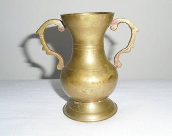 Solid Brass Vase, Brass Vase with Handle, Brass Vase