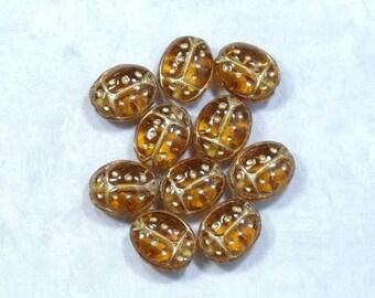 10 Glass Lady Bug Beads Czech Glass Beads Glass Bug Beads Amber Brown Glass Beads 18mm Lady Bug Beads