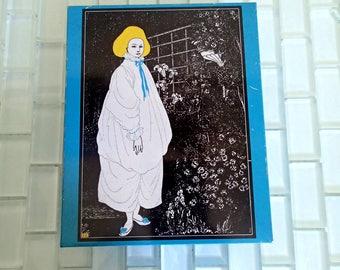 Aubrey Beardsley Tin Canister JAPAN - 1960s Woman Canister Fine Art