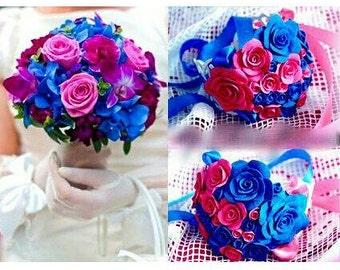 bride bouquet, bride bracelet, purple bride bouquet, purple and pink bouquet, purple bride, orchid bride bouquet, bridesmaid corsage, bridal
