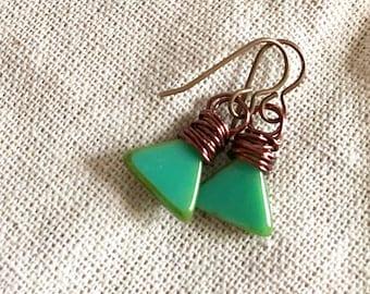 Wire Wrapped Green Capri-jade Earrings