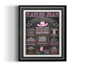 Cowgirl Chalkboard Birthday or School Year Sign | Digital DIY Printable | Boots | Yeehaw | Poster | Many Size Choices