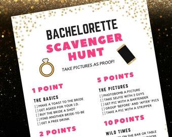 Bachelorette Scavenger Hunt Game | Bachelorette Party Game Printable