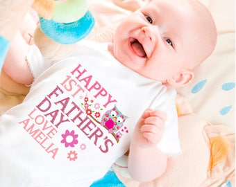 Personalised First Father's Day Bodysuit Pink/Blue