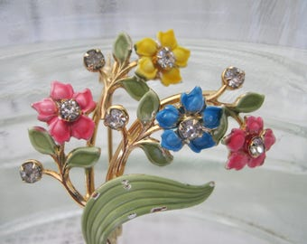 Spring Bouquet Brooch for You! Enamel and rhinestone pin by Kramer