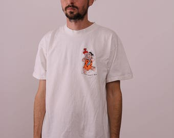 Flintstones Pebbles & Fred Embroidered 90s Tee Mens Large