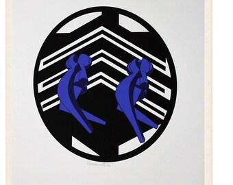 Original silkscreen, Amelio Roccamonte, 1970 / engraving / Bauhaus / Architecture duck Lyon