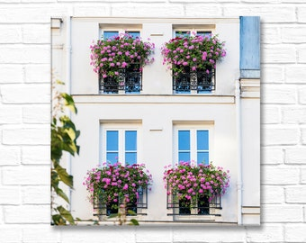 Paris Photography on Canvas - Pink Geranium Window Boxes,  Gallery Wrapped Canvas, Large Wall Art, French Home Decor, Travel Photography