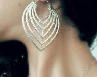 Silver earrings, large silver earrings,boho silver earrings,silver geometric earrings,silver modern earrings,big silver earrings,gypsy