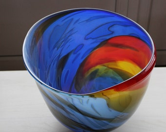 Johan de Vries-Unica-blown glass jar-Primary colours