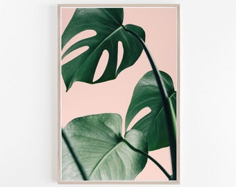 Imprimer imprimé feuille de palmier, mur Print, impression d'Art, Art mural rose, Tropical, Decor, estampes, grand mur Art mural, chambre Decor, Palm Print, Monstera