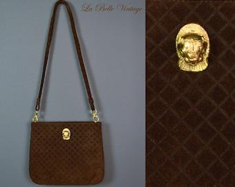 Ruth Saltz Cougar Purse Vintage Quilted Shoulder Bag Brown Leather Handbag ~ Deadstock