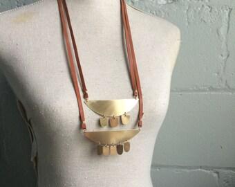 Sunflower Necklace Set. Brass Pendant. Brass Fringe. Leather Ribbon Necklace. Layered Necklace. Modern Bohemian. One of a Kind. Geometric.