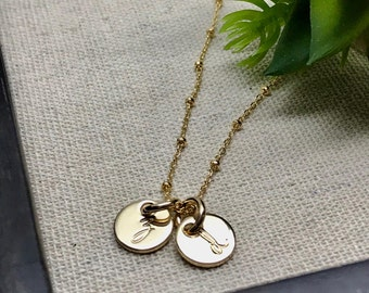 Tiny Gold Initial Necklace - Hand Stamped Initial Charms - Simple Gold Initial Jewelry - Personalized - Gold Minimalist Jewelry