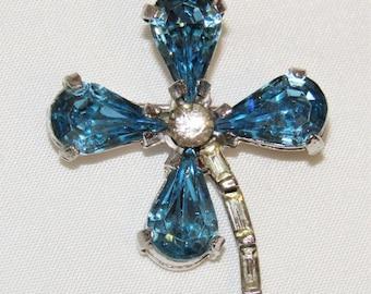 """Vintage Topaz Blue Clear Rhinestone Silver Tone Shamrock Pin Brooch - 1 1/4"""" W"""