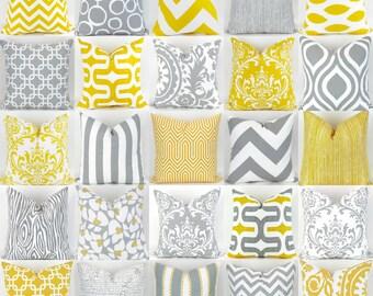 Yellow & Gray Pillow Covers -18x18 inch- Mix/Match patterns, cushion sham euro throw bold modern geometric grey white custom Premier Prints