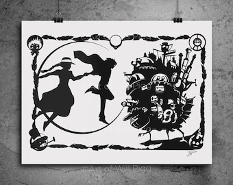 "Howl's Moving Castle Studio Ghibli Screen Print of my shadow paper cut // signed 12""x18"" French Sweet Tooth 100lb paper black metallic ink"