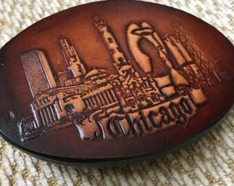 Chicago Belt Buckle - Chicago Skyline Belt Buckle - Leather Belt Buckle - Tooled Leather Belt Buckle - 1983