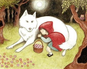 Lost Red Riding Hood. A4 art print photographic matte fairy tale illustration, Greek artist