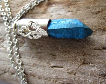 """Titanium Point Bullet Necklace  /silver bullet/ with engraving/ engraved/ OOAK """"Peacock"""""""