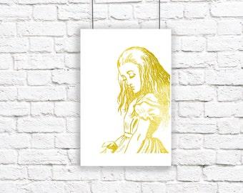 Alice in Wonderland Gold Golden Large Art Print Lewis Carroll Nursery Metallic