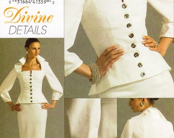 Sz 14/16/18/20 - Vogue Dress Pattern V8355 - Misses' Two-Piece Dress - Standing Collar Top and Skirt Pattern - Vogue Divine Details Patterns