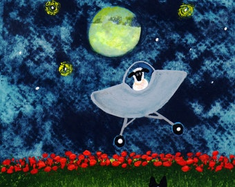 Border Collie Dog Folk Art print of Todd Young painting SHEEP IN SPACE