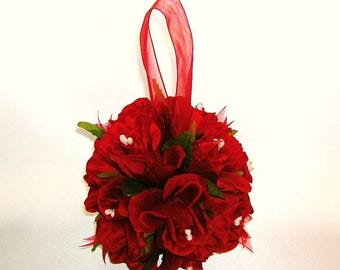 On Sale Red Rose Pomander Kissing Ball, Wedding Decoration